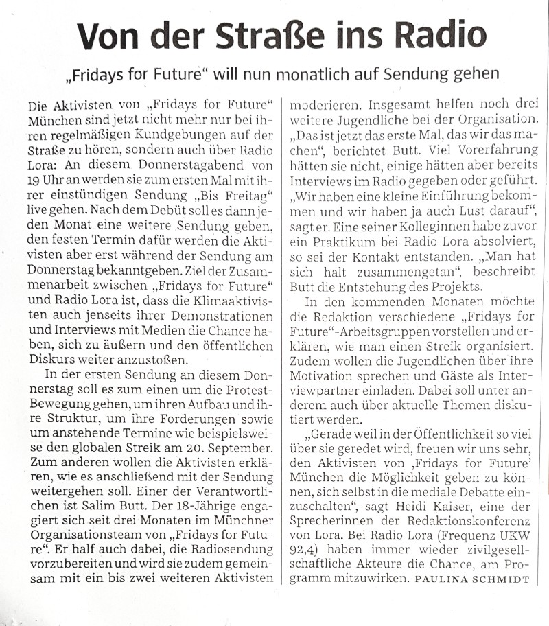 fridays for future im Radio in SZ